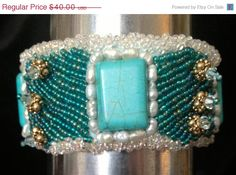 ON SALE Beaded Cuff   Turquoise by bjswearableart on Etsy, $24.00