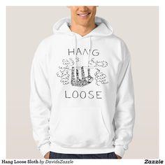 Hang Loose Sloth #sloth #clothes #men #women #baby #kids #girl #boy #unisex #toddler #cartoon #funny #humorous #humor #buy #sale #zazzle #jungle #animal #tree #hang #loose #line #ink #black #white #hoody #t-shirt #short #sleeve #tee #long #sweatshirt #underwear #jersey #tank #top #fashion #style #comfort