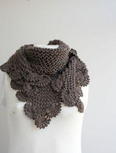 Handmade Chocolate Brown Triangle Midi Shawl scarf by denizgunes
