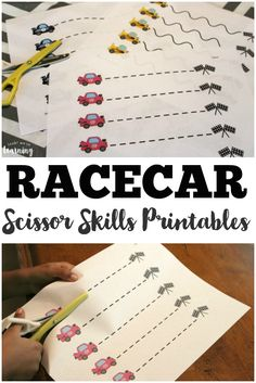 These free racecar scissor skills printables are a fun way for little ones to practice cutting with scissors! Cars Preschool, Transportation Preschool Activities, Transportation Activities, Preschool Education, Free Preschool, Preschool Learning, Learning Activities, Learning Shapes, Cutting Activities For Kids