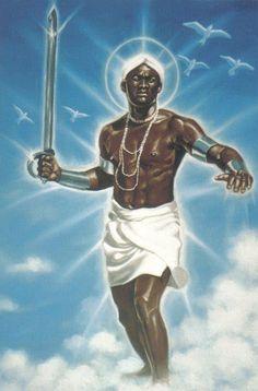 """Oxaguian (Oxalá Mozo) Señor de la vida! Salve gran guerrero blanco que desconoce derrotas...! saludemos al amanecer del día, cuando surgen los primeros rayos de vida y de luz...  """"Exeu ê! Epa o Babà..! Kabiesy Oxaguian...""""  Axé...."""