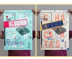 """Identidade Visual, pôsteres e postais para o projeto """"Chá com Cartas""""."""