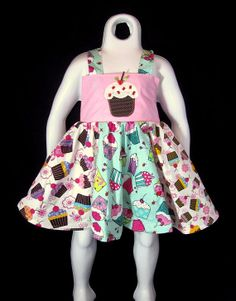 Cupcake Birthday Party Twirly Dress, Customizble (u choose bodice applique, straps & neckline)