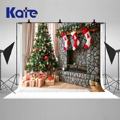Items similar to Christmas Trees Decoration Theme Photography Backdrops Stone Fireplace and Red Socks Photo Backgrounds for Children Studio Props on Etsy Christmas Photo Background, Christmas Photo Booth, Christmas Photo Cards, Christmas Photos, Kids Christmas, Christmas Trees, Christmas Backdrops For Photography, Christmas Tree Decorations, Holiday Decor