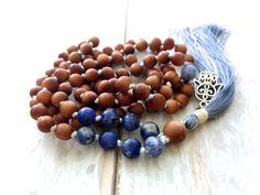 Sandalwood Knotted Mala Beads, Hamsa Charm Silk Tassel, Hand Knotted Mala Necklace, Sodalite Gemstone Mala, 108 Mala Bead, Yoga Meditation