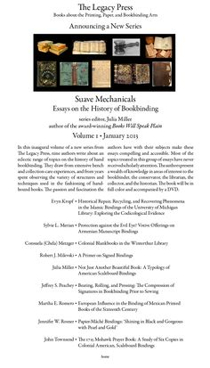 Suave Mechanicals: Essays on the History of Bookbinding, Vol. 1