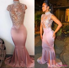 Sweep Train Satin Prom Dresses With Trumpet/Mermaid High Neck - Bal de Promo Sexy Formal Dresses, Pink Prom Dresses, Beautiful Prom Dresses, Mermaid Prom Dresses, Prom Party Dresses, Elegant Dresses, Lace Dresses, Graduation Dresses, Prom Gowns
