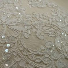 White Beaded Pearl Oriental Design Corded Floral Lace Trim