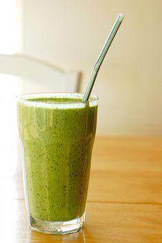 spinach -kale  1 ripe banana -hemp oil - ground flax -chia seeds (soaked in water)  -raw milk or almond milk - vanilla protein powder