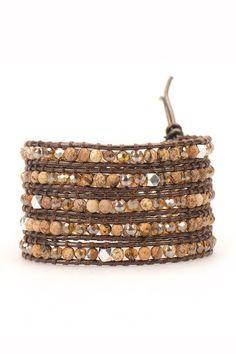 Wrap Bracelet - African Jasper on Metallic Brown Leather | Talulah Lee