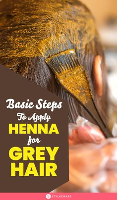 If you are feeling annoyed with grey hair, you can easily cover them using a natural remedy i. Here are 5 basic steps to apply henna for grey hair Grey Hair Henna, Henna Natural Hair, Henna Hair Color, Natural Hair Care Tips, Color Your Hair, Cool Hair Color, Black Henna, Natural Hair Styles, How To Apply Henna