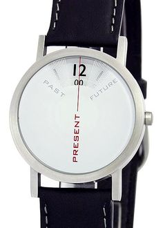 "Projects Past, Present, and Future designed by Daniel Will-Harris  Live in the present. That's what we strive to do.    This unique timepiece beautifully reminds you that ""there's no time like the present.""    You only see the present time: what's past is past. The future doesn't exist yet. The time is now.    At once coolly minimal and warmly conceptual, Past Present, Future is a meditation on time."