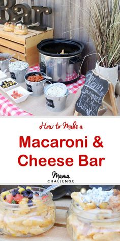 Best Macaroni & Cheese for a Macaroni & Cheese Bar What's better than macaroni and cheese? Well except macaroni and cheese with stuff in it. Make your next dinner, girls' night or cookout the easiest and cheesiest with a macaroni and cheese bar. Pasta Bar, Best Macaroni And Cheese, Mac And Cheese, Party Food Bars, Bar Food, Teen Party Food, Party Food Menu, Wedding Food Bars, Graduation Party Foods
