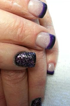 Purple,  black and tinsel acrylic...by Denise