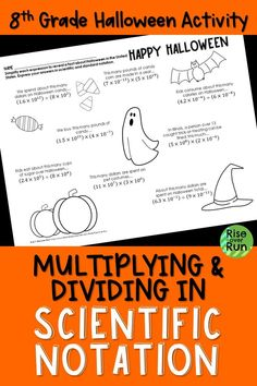 Great Halloween math activity for graders. Each answer reveals a fun Halloween fact. Halloween Facts, Halloween Activities, Halloween Themes, Math Activities, Halloween Fun, Scientific Notation, Secondary Math, Multiplication And Division, 8th Grade Math