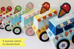printable: Ice Cream Party Favor Box Truck, customized name on front, $4...these are so much fun!