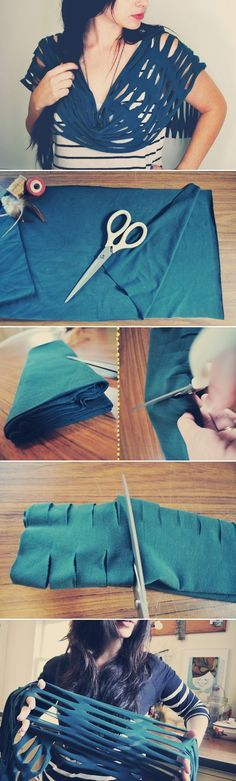scarves easy ideas tutorial stretching cloth blue