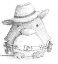 Cowboy Penguin by B-Keks. on Cowboy Penguin by B-Keks. Cute Animal Drawings, Animal Sketches, Pencil Art Drawings, Art Drawings Sketches, Disney Drawings, Cartoon Drawings, Easy Drawings, Penguin Drawing, Penguin Art