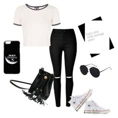 """balck and white teenage years"" by roseat98 on Polyvore featuring Topshop and Converse"