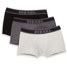 Diesel Stretch-Cotton Boxer Briefs, 3-Pack (3.315 RUB) ❤ liked on Polyvore featuring men's fashion, men's clothing, men's underwear, apparel & accessories and grey