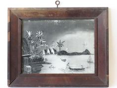 Lot: FOLK ART SANDPAPER PAINTING, PALM TREES SGN T. KNIGHT, Lot Number: 0042, Starting Bid: $100, Auctioneer: EstateOfMind Auctions, Auction: Americana, Military & Musical Instruments, Date: January 21st, 2017 EST