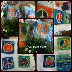 Mini handmade ~ size of your hand ~ Prayer Flags.  They are sew from left over fabric then batiked and dyed.  The wire they are on is heavy duty and I have added a homemade bead... just for fun... put it in as plant inside or outside to brighten you garden area!