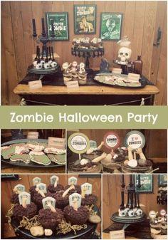 Vintage Zombie Themed Halloween Party Zombie Halloween Party, Zombie Birthday Parties, Halloween Party Supplies, Fall Halloween, Halloween Crafts, Boy Birthday, Halloween Decorations, Halloween Ideas, Halloween Foods