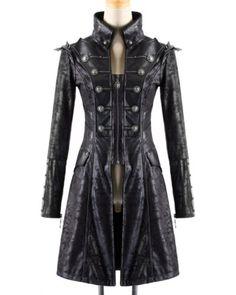 Details zu Punk Rave Mens Steampunk Jacket Coat Black Goth Punk Faux Leather  Military a58def00e2
