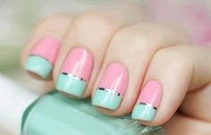 So pretty! Get this look with #Essie pink -a -boo and mint candy apple!