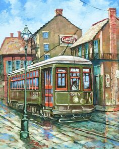 A Streetcar Named Desire by Dianne Parks - A Streetcar Named Desire Painting - A Streetcar Named Desire Fine Art Prints and Posters for Sale Louisiana Art, Streetcar Named Desire, New Orleans Art, New Orleans French Quarter, Fine Art Prints, Canvas Prints, Sunflower Art, Thing 1, Trains