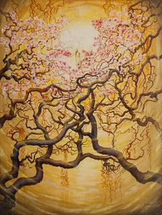 Sun Print featuring the painting Sun And Sakura by Vrindavan Das