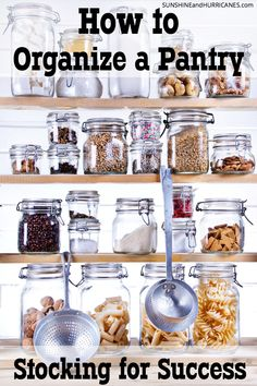 We don't have to be great planners or even all that organized to set up a pantry that is stocked for success. I like to consider this a practice guide for how to organize a pantry. It sets you up so on those weeks when things are hectic and maybe meal planning just isn't happening (or maybe you're just not a meal planner) this system will still make it easy to find what your looking for and get meals on the table quickly and stress-free. How to Organize a Pantry at SunshineandHurricanes.com