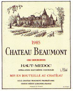 Medoc Chateau Beaumont 1985 French Wine Label