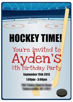 Hockey Party Invtation Kids Birthday Party Invitations