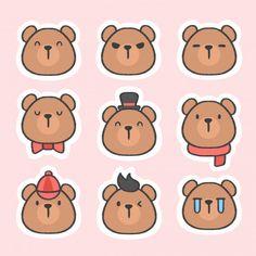 Cute bear emoticon sticker hand drawn cartoon collection | Premium Vector #Freepik #vector #logo #icon #hand #cartoon Bear Emoji, Emoji Stickers, Printable Stickers, Cute Stickers, Cute Panda Cartoon, Bear Cartoon, Cute Food Drawings, Kawaii Drawings, Bears