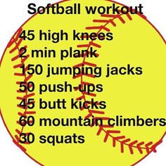 Softball Practice Workout....think I might start this tomorrow and hope I don't die next sunday