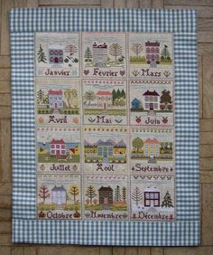 Free patterns for the months of the year country cross stitch Cross Stitch House, Cross Stitch Charts, Cross Stitch Patterns, Embroidery Sampler, Cross Stitch Embroidery, Blackbird Designs, Cross Stitch Pictures, Le Point, Cross Stitching
