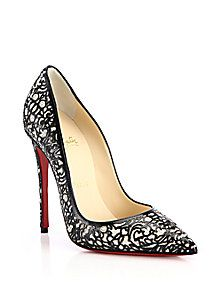 Christian Louboutin - So Pretty Cutout Patent Leather, Suede & Glitter Pumps (=)