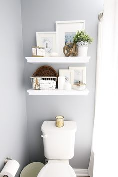 Guest Bathroom Refresh and Organization with InterDesign - Home Organization- guest bathroom refresh, bathroom organization, organized bathroom vanity, kids b - White Bathroom Shelves, White Floating Shelves, White Bathroom Decor, White Vanity Bathroom, Bathroom Layout, Bathroom Interior, White Shelves, Guest Bathroom Decorating, Peach Bathroom