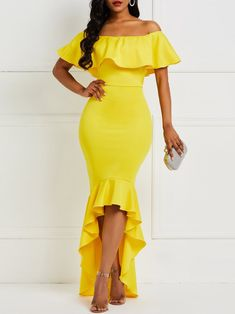 African Fashion Falbala Off Shoulder Asymmetrical Women's Maxi Dress Cheap Dresses, Casual Dresses, Prom Dresses, Sexy Long Dress, Plain Dress, Asymmetrical Dress, Ladies Dress Design, Yellow Dress, African Fashion