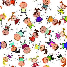 cartoon kids seamless pattern design vector