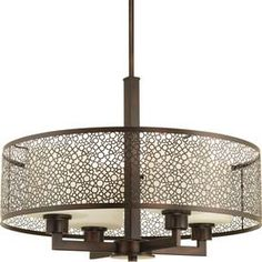Shop Progress Lighting Mingle 21-in W Antique Bronze Pendant Light with Tinted Glass Shade at Lowes.com