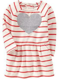 Striped Heart-Print Jersey Dresses for Baby   Old Navy