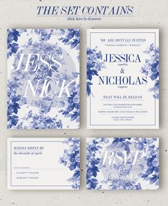 This watercolor plumbago floral wedding invitation is so sweet! Blue Wedding Invitations, Wedding Invitation Templates, Wedding Stationary, Wedding Paper, Wedding Cards, Wedding Wishes, Wedding Decor, Wedding Blue, Wedding Menu