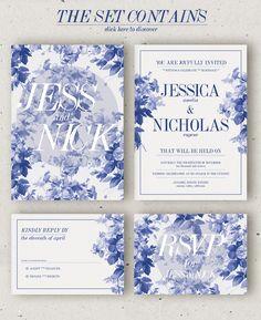 China Blue Wedding Invitation Template PSD #design Download: https://creativemarket.com/klapauciusco/352456?u=ksioks