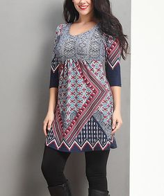 Love this Navy Suzani Empire-Waist Tunic Dress - Plus on #zulily! #zulilyfinds