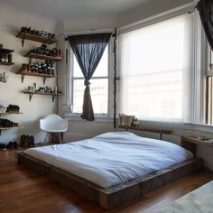 Low bed with wood frame