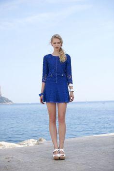 Casaco de renda + saia de renda. Verão 2016 Romariabh #romariabh #casaco #renda #lace #verão2016 #summercollection #fashion #moda #bluemood