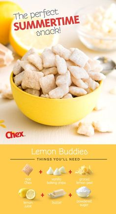 A summer favorite of ours - Lemon Buddies! An easy 15 minute recipe made with just six ingredients; rice chex, white baking chips, fresh grated lemon peel, lemon juice, butter and powdered sugar. Perfect for bridal or baby showers – but really no excuse i Dessert Dips, Dessert Party, Dessert Parfait, Chex Mix Recipes, Snack Recipes, Dessert Recipes, Recipes With Rice Chex, Puppy Chow Recipes, Coctails Recipes