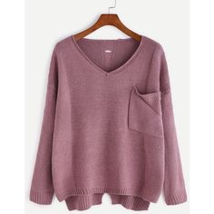 Purple V Neck High Low Hollow Back Pocket Sweater (8.53 BAM) via Polyvore featuring tops, sweaters, purple, embellished sweaters, long sleeve v neck sweater, purple v neck sweater, long sleeve sweater i purple sweater